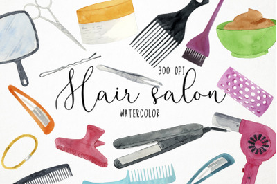 Watercolor Hair Salon Clipart, Hair Salon Clipart, Hairdresser Clipart