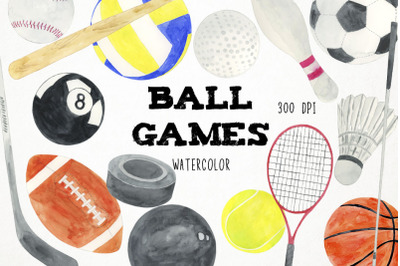 Watercolor Ball Sports Clipart, Sports Illustration, Sports Games Clip