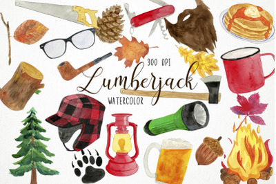 Watercolor Lumberjack Clipart, Lumberjack Illustration, Lumberjack Cli
