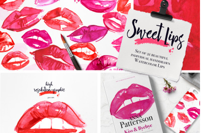 Sweet Lips Clipart Watercolor Kiss