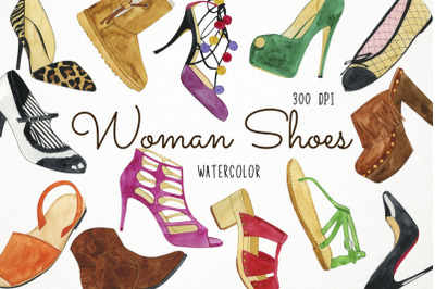 Watercolor Woman Shoes Clipart, Woman Shoes Illustration, Woman Shoes