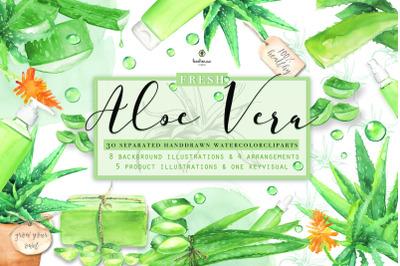 Fresh Watercolor Aloe Vera Set