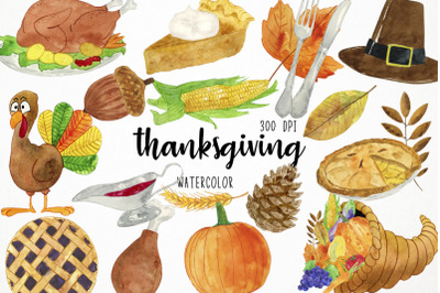 Watercolor Thanksgiving Clipart, Thanksgiving Clip Art, Thanksgiving I