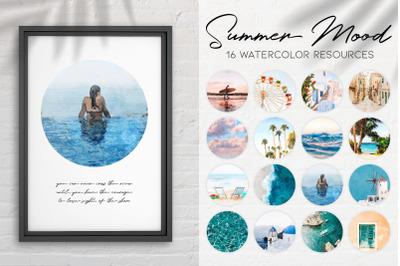 Summer Mood Watercolor Circle Set