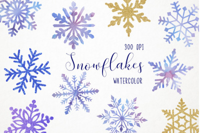Watercolor Snowflakes Clipart, Snowflakes Illustration, Snowflakes Cli