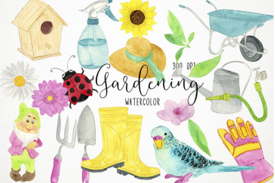 Watercolor Gardening Clipart, Gardening Illustration, Spring Clipart