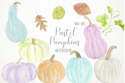 Watercolor Pastel Pumpkins Clipart, Pastel Pumpkins Illustration