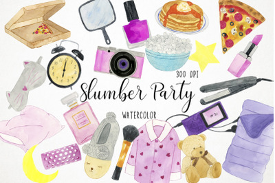 Watercolor Slumber Party Clipart, Slumber Party Illustration