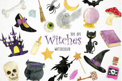 Watercolor Witch Clipart, Witch Illustration, Witch Clip Art
