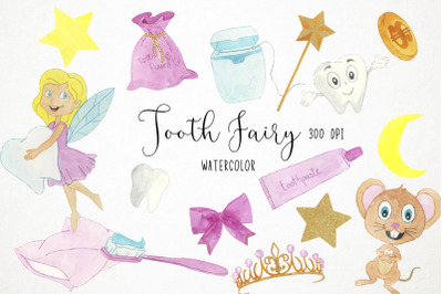Watercolor Tooth Fairy Clipart, Tooth Fairy Illustration
