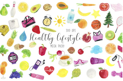 Watercolor Healthy Lifestyle Clipart, Healthy Lifestyle Illustration