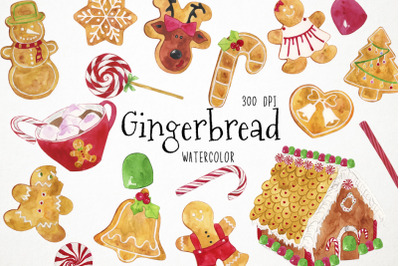 Watercolor Gingerbread Cookies Clipart, Christmas Cookies Clipart