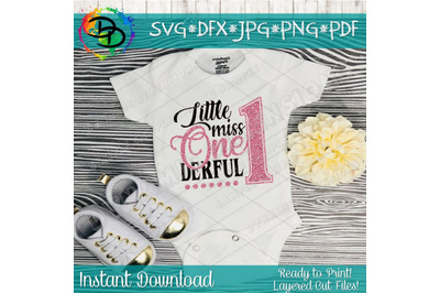 Little Miss One-derful SVG Cutting File, first birthday svg, 1st birt