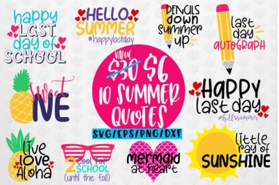 Summer Svg Bundles - 10 Svg EPS DXF PNG Cut File