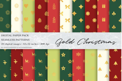 Gold Christmas Digital Papers, Geometric Patterns