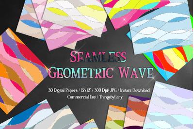 30 Seamless Colorful Geometric Wave Ocean Digital Papers
