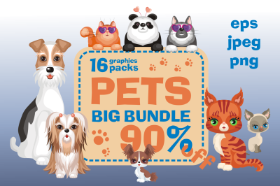 Pets Bundle. Cliparts and seamless patterns