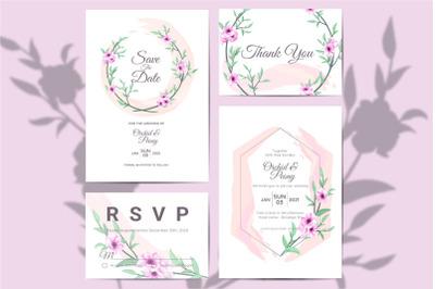 Elegant Watercolor Floral Wedding Invitation Set of Anemone Flowers