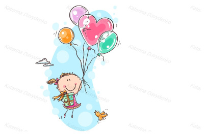 Girl flying with the balloons and carrying a present