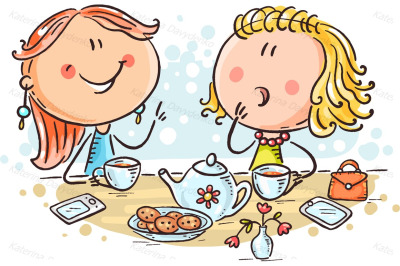 Friends talking and drinking tea