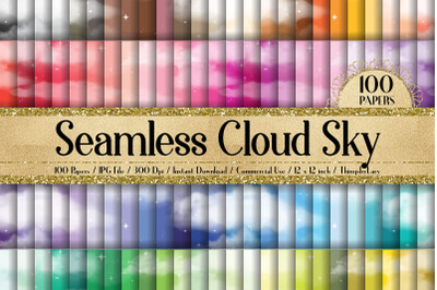 100 Seamless Fantasy Realistic Cloud Star Sky Digital Papers