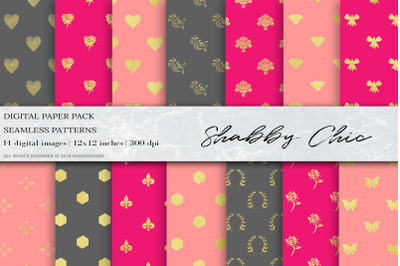 Shabby Chic Digital Papers, Pink Gold Background