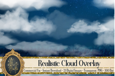 23 Isolated Realistic Cloud Overlay Digital Images PNG