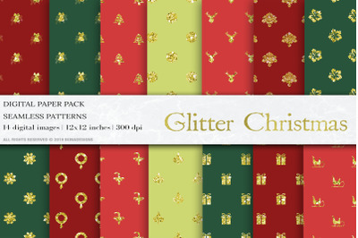 Gold Glitter Christmas Digital Papers, New Year Patterns