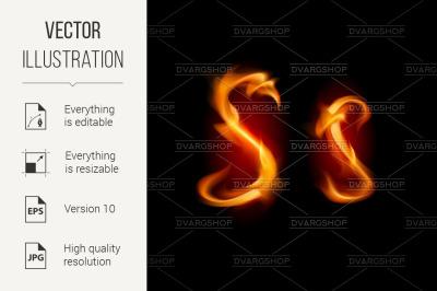 Fiery font. Letter S