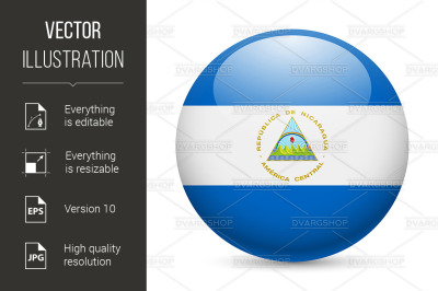 Round glossy icon of Nicaragua