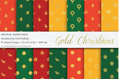 Gold Glitter Christmas Digital Papers