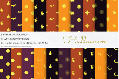 Gold Halloween Digital Papers, Patterns