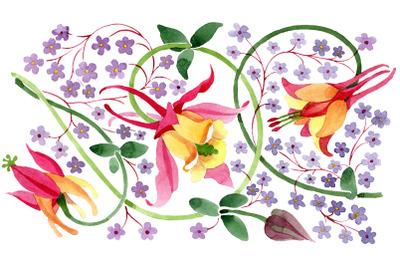 Ornament for flower vase watercolor png