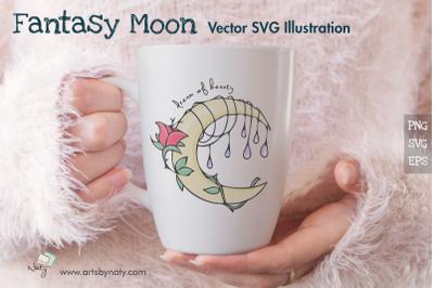 Fantasy Moon Vector SVG Illustration.