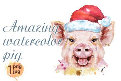 Watercolor portrait of pig in Santa hat