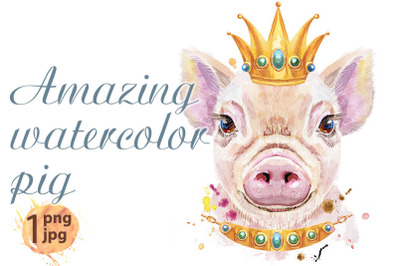 Watercolor portrait of pig with golden crown