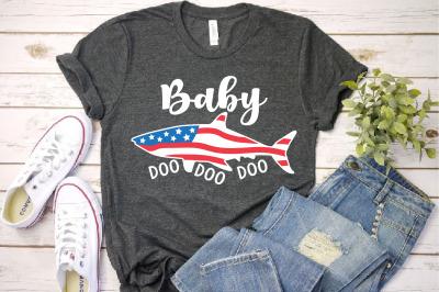 Baby Shark USA Flag Doo Doo Doo SVG 4th of July 1441S