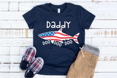 Daddy Shark USA SVG Doo Doo Doo  Papa husband 4th of July 1443S