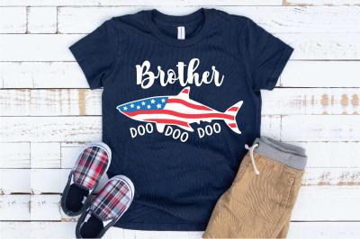Brother Shark USA Flag Doo Doo Doo SVG 4th of July 1447S