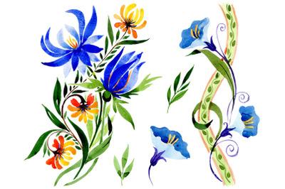 Ornament floral blue watercolor png