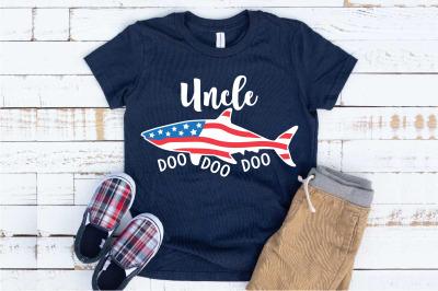 Uncle Shark USA Flag Doo Doo Doo SVG Shower 4th of July 1449S