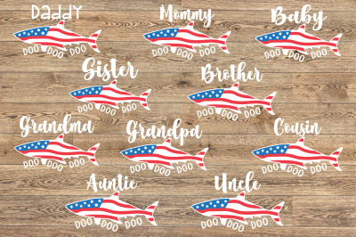 All Family Shark USA Flag Doo Doo SVG Mother's Day 4th of July 1451S