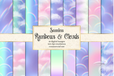Rainbows and Clouds Digital Paper