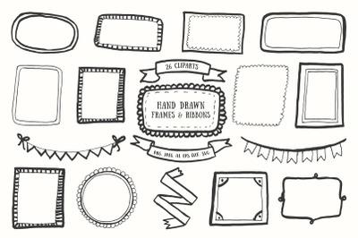20+ Handdrawn Frames & Ribbons Cliparts