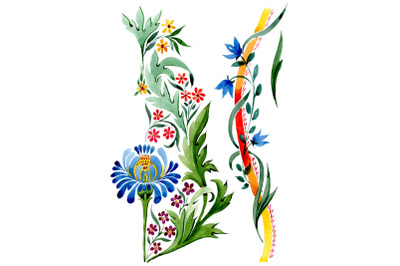 """Ornament floral """"Riddle"""" watercolor png"""