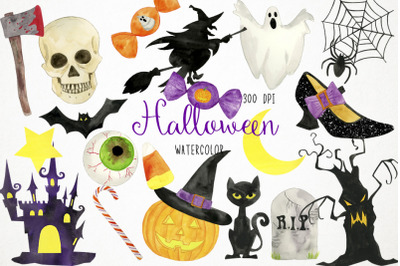 Watercolor Halloween Clipart, Halloween Illustration