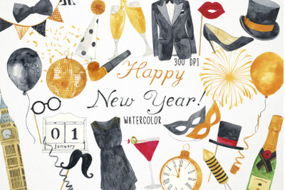 Watercolor Happy New Year Clipart, New Year Illustration