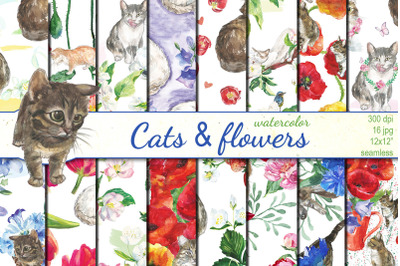 Watercolor Cats and Flowers seamless patterns