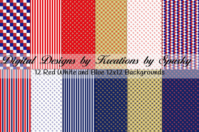 Red White and Blue Background Papers 12x12