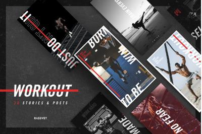 Workout Social media Template, instagram template sport, fitness